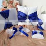 Blue bow Fine beads Decoration guest book /pen holder/ring pillow/flower basket set wedding favor dropship supplier