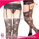 Sheer Black Lace Sex Garter Stocking