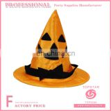 Yellow polyester conical halloween witch hat for children nonwoven beard decorated on the hat