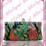 Aidocrystal handmade crystal mixed color bird pattern clutch/tote/ /purse/handbag/bag for party