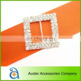 Crystal double Rows Square Bouquet Diamond Rhinestone Buckle Ribbon slider Wedding Supplies