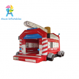 Fire truck inflatable bouncer castle toys with free air blowers and rain covers