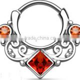 Lace Swirl Gem square CZ crystal 316L surgical steel septum clicker nose piercing Body Jewelry