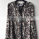 German Brand High Quality Poly Chiffon Leopard Print Leather Collar and Placket Contrast Blouse
