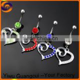 Fashion stainless steel nickel and lead free heart shape belly navel ring                                                                         Quality Choice