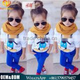 2015 European Style Fashion Girl Autumn Clothing Set Cute Baby Cartoon Mickey T-shirt+Pants+Scarf Three Piece Outfits