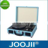 Wooden cabinet portable vintage turntable with high quality PU leather finish