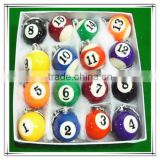 16pcs Per Box Billiard Ball Style Keychain For Gift