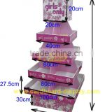 Innovative DesignCorrugated ,in super markets, snack ShopWheat Diary retail display Red Cardboard Cupcake Stand