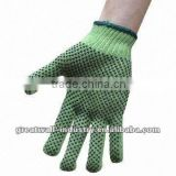 7 Gauge Knitting Seamless T/C Gloves, Green Color, Palm and Finger Double-sided PVC Dotted