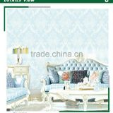 inexpensive foaming non woven wallpaper, light blue royal damask wall mural for backdrop , commercial wall covering maker