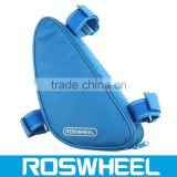 Wholesale high quality Triangle Bicycle Frame Bag with 4 Reflective Strip tied on the top tube 12657 triangle shaped bag