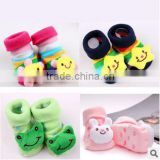 cute colourful plush baby socks with toy /baby plush study socks/baby floor socks