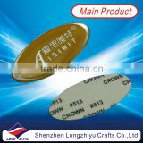 Epoxy resin custom logo design gold nameplates,oval metal self adhesive label tag with your own logo design