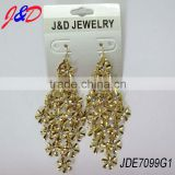 1 cm small gold flower connector diamond earrings