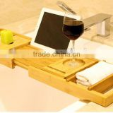 new design 100% Bamboo Bathtub Caddy with Extendable multifun Integrated Wineglass Holder new design bathroom rack bathtub caddy                                                                         Quality Choice