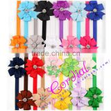 China Supplier New Products Cheap Wholesale Fashion Bowknot Ribbon Elastic Headband With Rhinestone