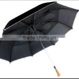 Black Air Vented Folding umbrella Double Canopy have Hole wooden handle Double Layer 2 Fold Umbrella