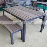 rattan outdoor plastic wood bench and table, outdoor garden furniture dinner set
