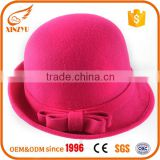 Top selling woman round felt hat pink 100% wool fedora hat with bow                                                                                                         Supplier's Choice