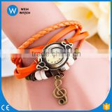 Note pendant Fashion Long Leather Strap Women Ladies Bracelet Watch Vintage Quartz Analog Casual Wristwatch/woman watch VW039