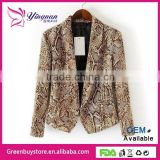 2014 Brand Design Women's New Chic Snake Python Print Long Sleeve Blazer Suit Blazers Coat SML