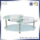 Cheap Used Fashion Design Special Shape Home Furniture Coffee Table Glass Top Metal Legs cafe table