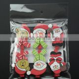 Christmas wooden crafts pegs mini red clips with small bear/snowman/santa patch gifts package