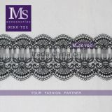 2016 hot sales scallop lace trim 13cm in black design wide lace trim polyester crochet lace for wedding dress