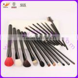 18pcs Real Hair Nylon Hair Matt Black Wood Handle Professional Makeup Brushes Set