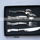 Hammered steel Cutlery set in mirror polish with curved handle