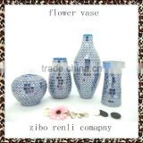 White with Blue Fashion Peacock Feather Pattern Handmade Decorative Flower Vase