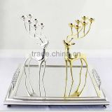 Deer Stainless Steel silver and gold plated candle holder candleholder with 6 spherical candle for home decoration free shipping