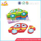 Wholesale car shape kids wooden building blocks toy educational baby wooden building blocks W13D034