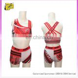 OEM cheer sports bra and shorts,Sexy girls cheerleading crop top and short,kids practice wear custom cheer uniform