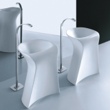 Chaozhou new design one piece bathroom cermaic no hole standing pedestal basin