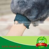 natural genuine leather sheepskin wash mitt for car China supplier