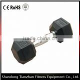Rbber hex dumbbell TZ-3001/ sport fitness body building equipment / blck rubber dumbbell
