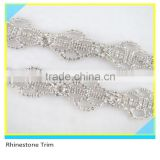 Fashion 888 Crystal Rhinestone Beads Boot Chain Plated Silver