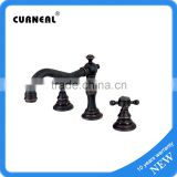 Cross Handles Black Color Oil Rubbed Bronze Three Holes Two Handles Bathroom Sink Faucet Roman Tub Faucets Bathtub Mixer Taps