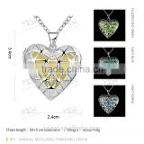 Silver hollow pendants with glow in the dark stone necklace heart shape necklace                                                                         Quality Choice