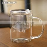 2014 Samadoyo Transparent Clear Glass Tea Pots/Teacups with Filter and Press Button for Making Tea on Hot Sale