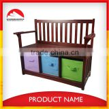 brown wooden bench with storage box,wooden bench with back for kids
