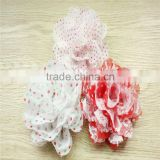 3.75'' Christmas Chiffon lace Flower-Chiffon Trimming Flower-Polka Dots Lace Rose Flower