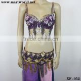 sexy purple beaded sequined design bra and panty (XF-052)