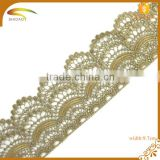 wholesale african guipure polyester chemical crochet gold lace trim for evening dress XJ142