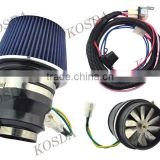 Electric Speed Performance Turbo Air Intake Fan Supercharger Boost System,Cold Supercharger Air Filter With 3 inch Neck