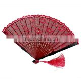 Vintage China Tranditional Lady Handheld Fan Costume Party Wedding Dancing Folding Flower Lace Hand Fan Beautiful Decoration