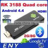 RK3188 Quad Core CortexA9 1.8GHz 2GB 8GB Bluetooth Quad Core Google H.264 Android Mini PC MK809 III