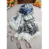 Hot selling diamond print scarf big shawl long style with beads